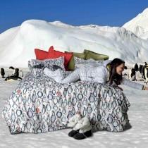 Completo lenzuola copriletto Tessitura Toscana Telerie Iceberg Pinguini