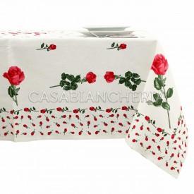 Tovaglia stampe artistiche romagnole Rose Rosse con o senza tovaglioli